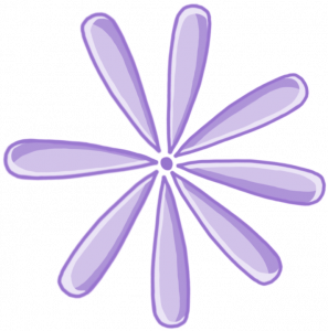 A drawing of a purple flower